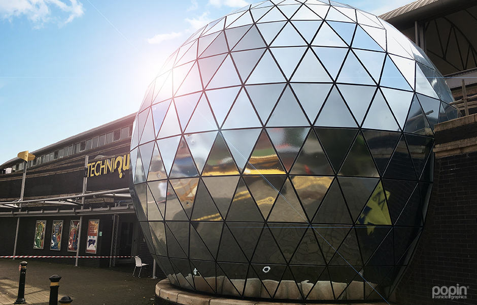 Full Chrome Wrap over the Techniquest Planetarium in Cardiff Bay