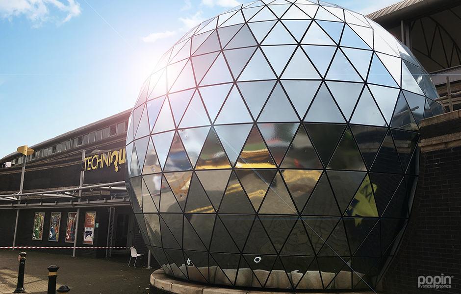 Full Chrome Wrap over the Techniquest Planetarium in Cardiff Bay