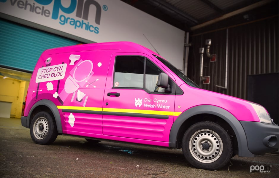 Dwr Cymru Digitally Printed Full 3M™ Wrap over a Ford Transit Connect with Rear Full Chevron Kit